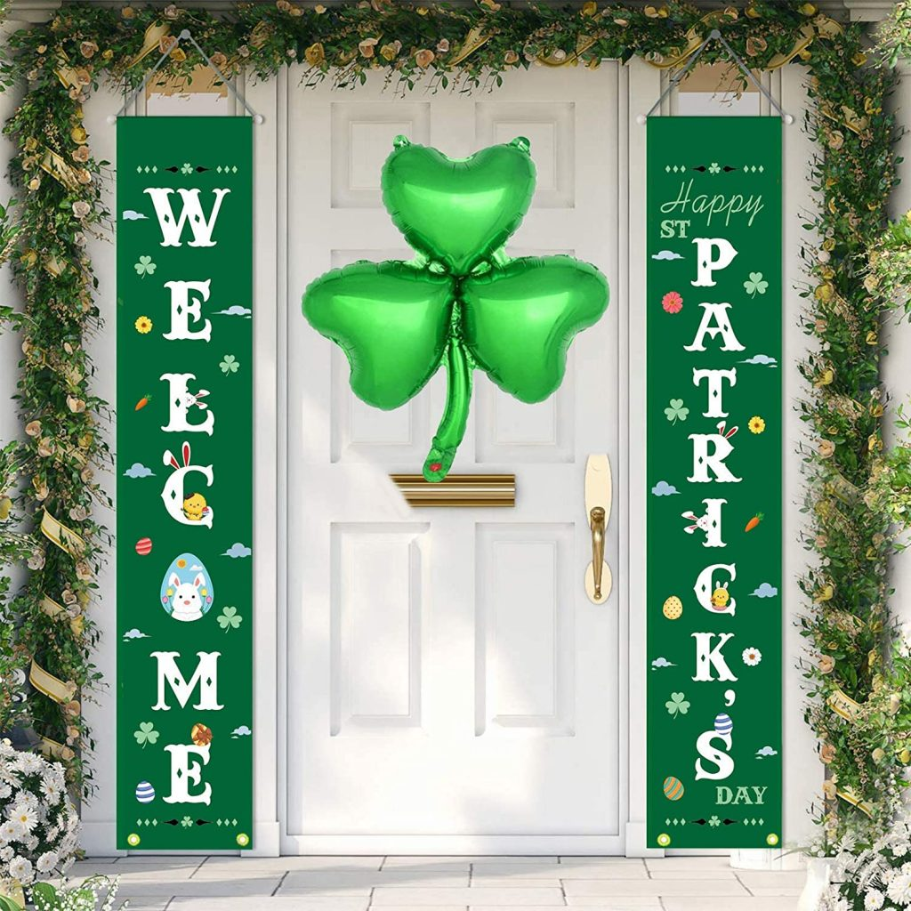 AMZABBY St Patricks Day Decorations Outdoor - Irish Shamrock Décor for The Home Party Door