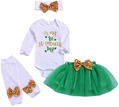 Baby Girl My 1st St. Patrick's Day Outfits Infant Girl Ruffle Sleeve Romper Tutu Skirt Leg Warmers with Headband Clothes Set