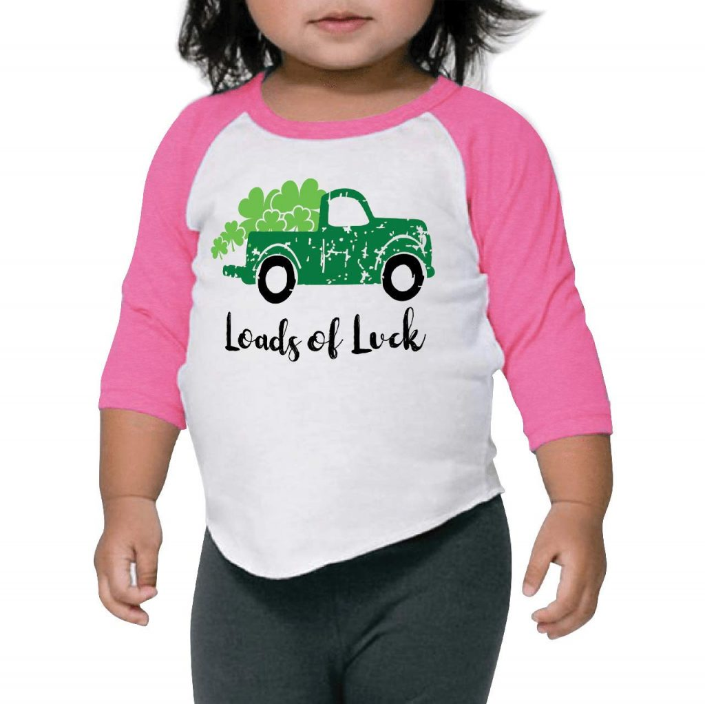 Bump and Beyond Designs Toddler Kids Loads of Luck Vintage Truck Unisex St. Patrick's Day Shirt