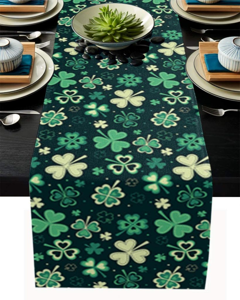 Burlap Table Runners for Dinner 13x70 Inch Dreamlike Lucky Sst patrick's day decorations