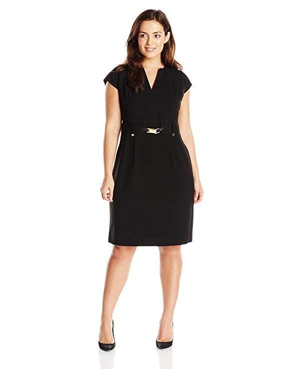 Calvin Klein Women's Plus-Size Shirt Dress with Gold Hardware international women's daygifts for employees