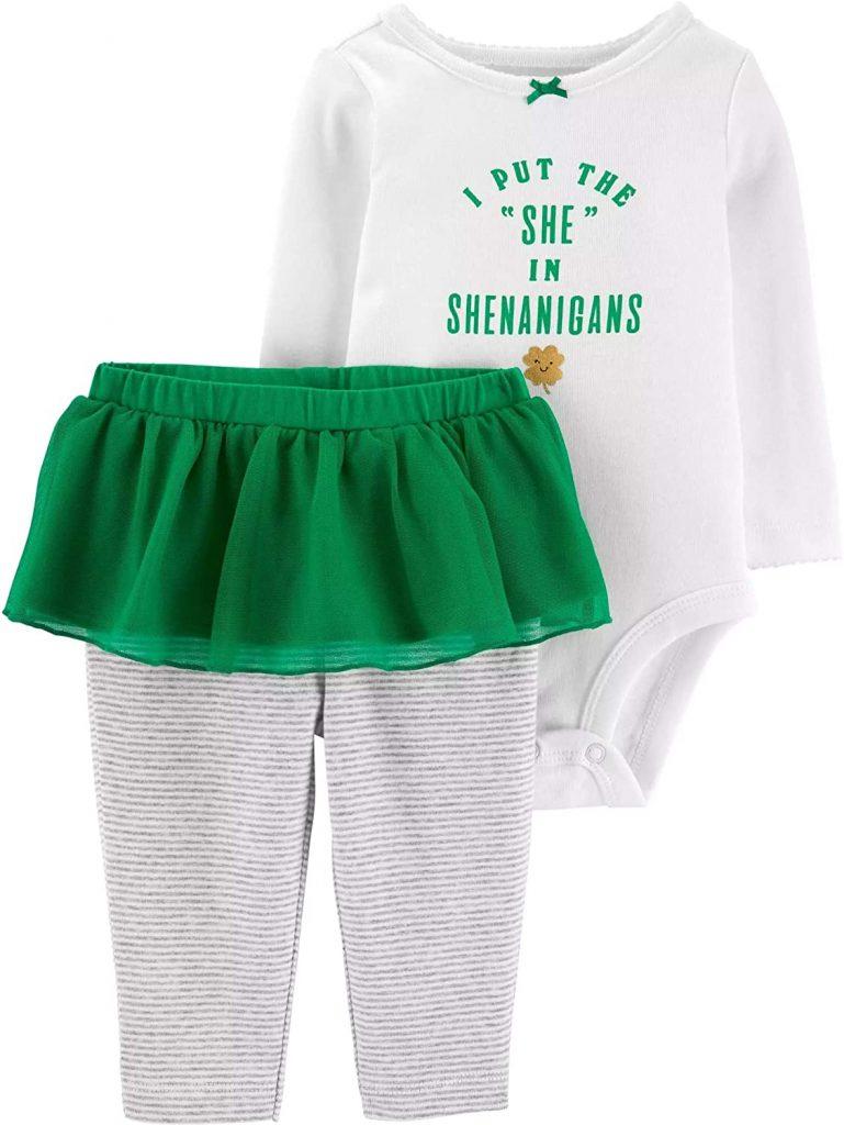 Carter's Baby Girls' 2-Piece St. Patrick's Day Bodysuit & Tutu Pant Set
