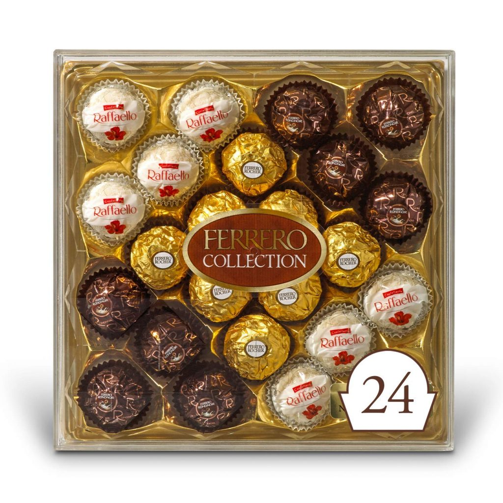 Ferrero Rocher Collection Fine Hazelnut Milk Chocolates, 24 Count Assorted Coconut Candy and Chocolates