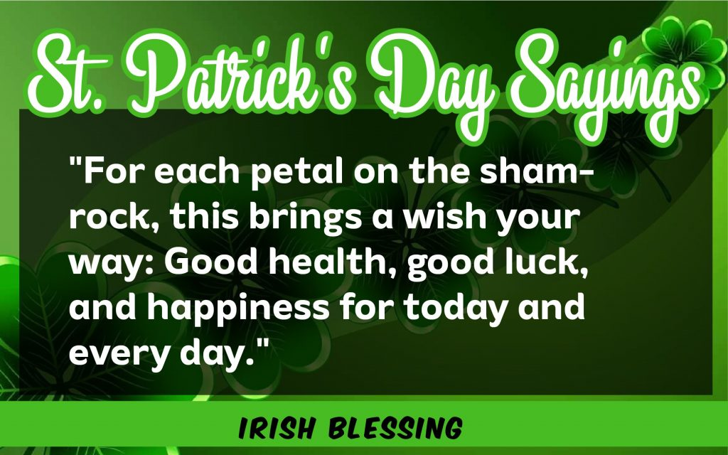 For each petal St. Patrick's Day Sayings 2021