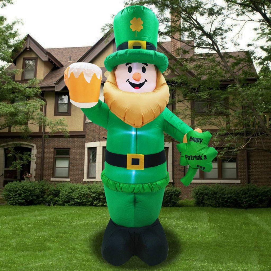 Giant 8 Foot Inflatable Leprechaun with LED Light Holding Beer for St Patrick's Day Decoration Outdoor Fun Holiday 2021