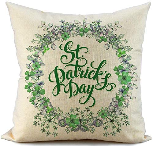 Happy St Patricks Day Decorations Lucky Decorative Cushion Cover Pillow Case for Sofa Couch...