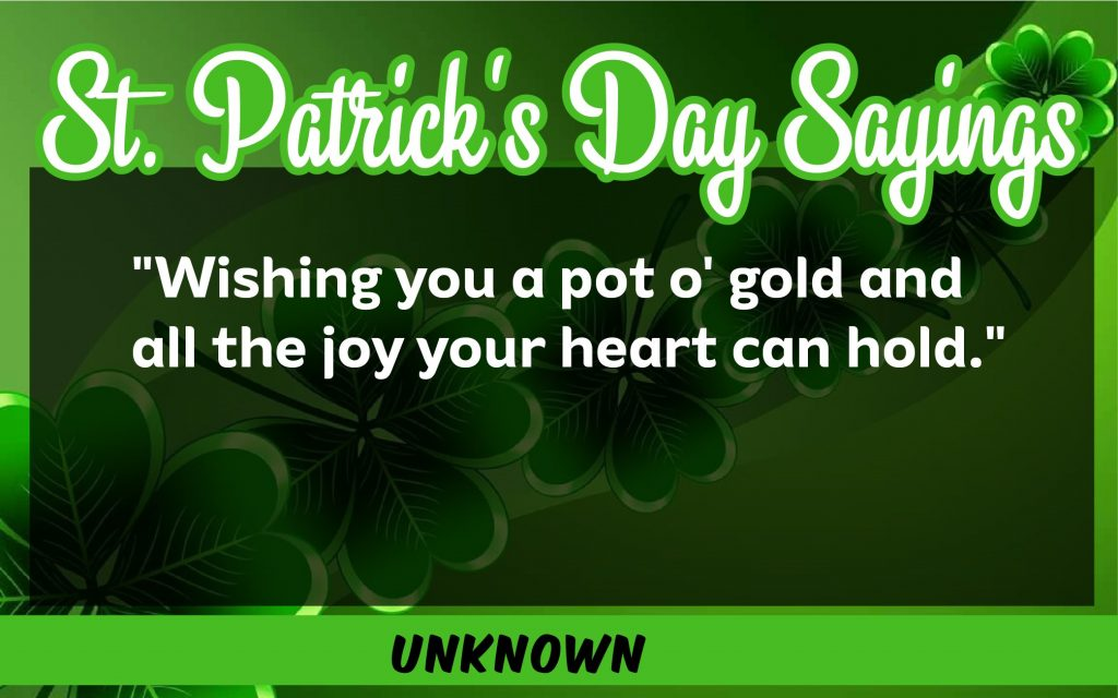I wish you a pot of gold St. Patrick's Day Sayings 2021