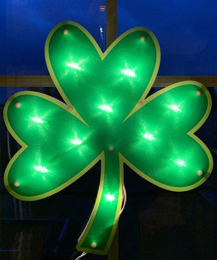 Impact Innovations Shamrock Lighted Window Decoration on St Patrick's Day