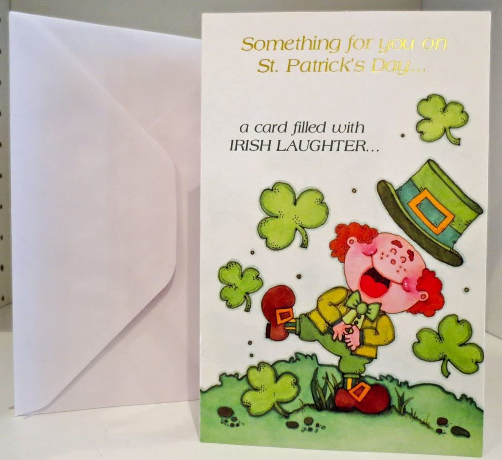Laughing Leprechaun with Hat Something for you on St. Patrick's Day Greeting Cards