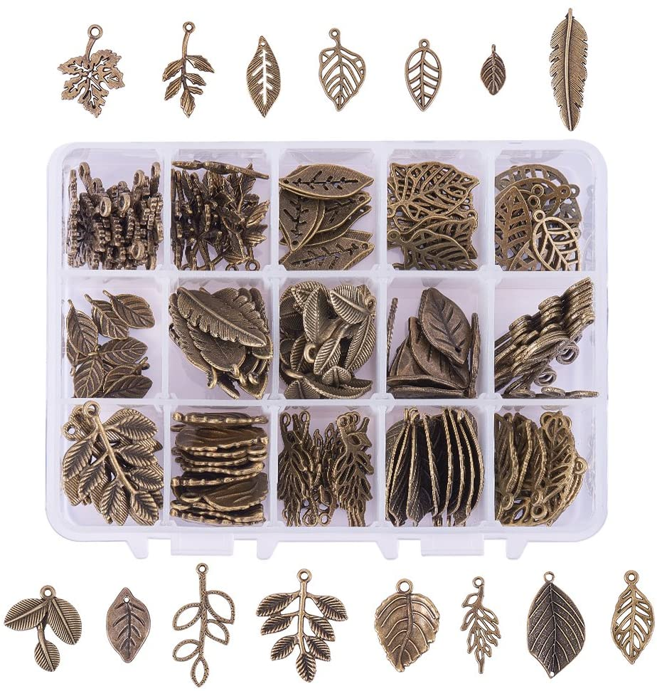 Leaf Charms Pendants, Branch Leaves Charms Beads for DIY Earring women's day gifts for mom 2021