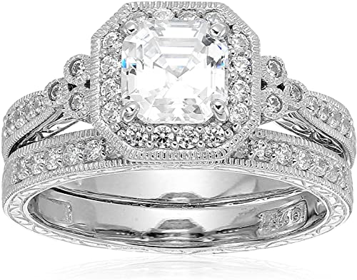 Platinum Plated Sterling Silver Swarovski Zirconia Antique Ring international women's daygifts for employees