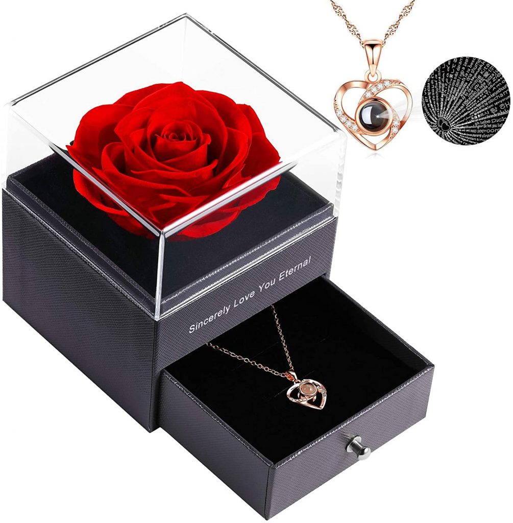 Preserved Real Rose Enchanted Real Rose Flower with Necklace international women's daygifts for employees