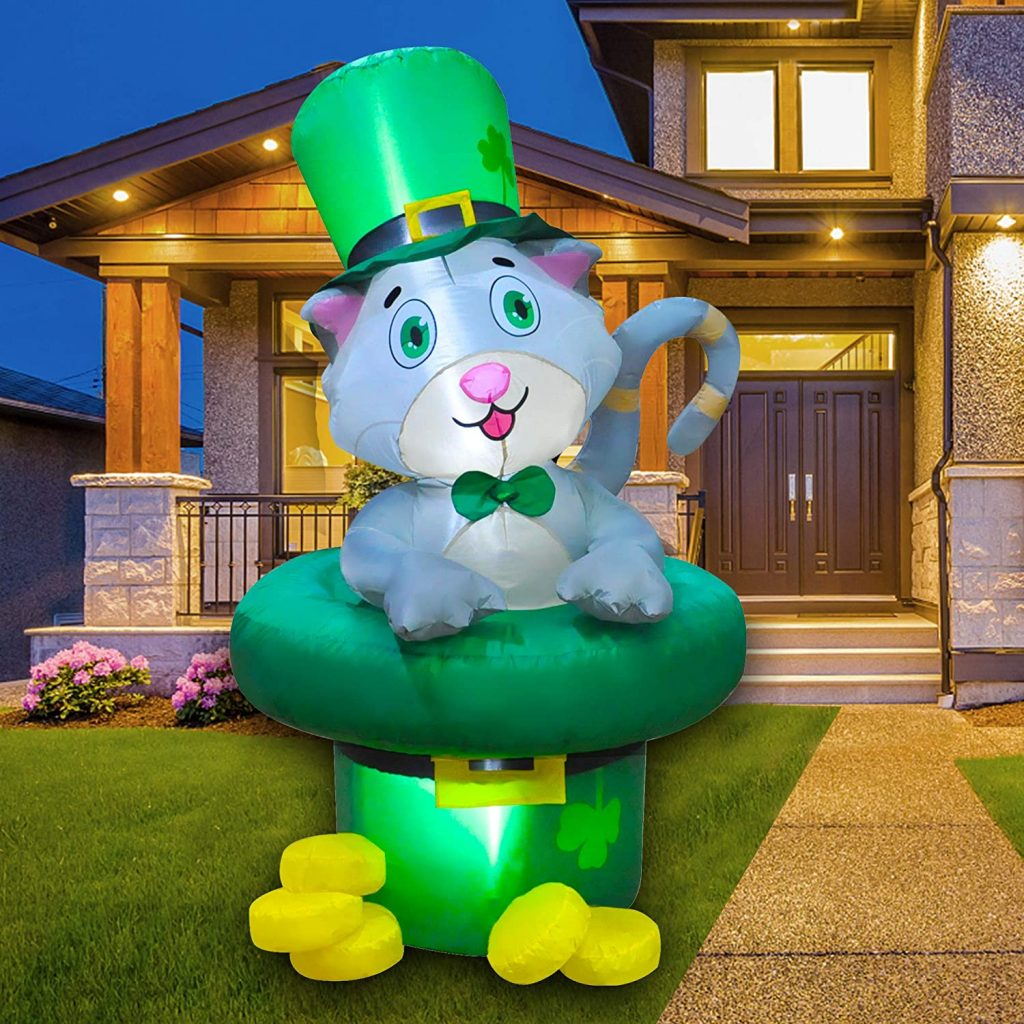 SEASONBLOW 5 Ft LED Inflatable St. Patrick's Day Cat in Hat Decorations