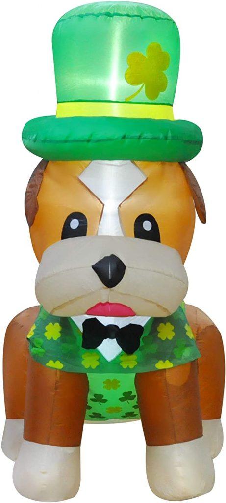 SEASONBLOW 5 Ft LED Light Up Inflatable St. Patrick's Day Shar Pei Dog Decorations