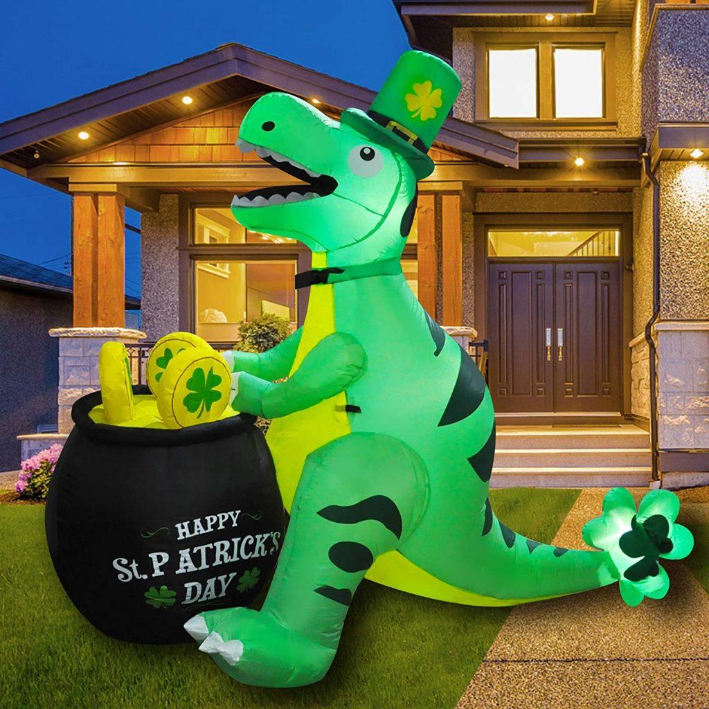 SEASONBLOW 6 Ft LED Inflatable St. Patrick's Day Dinosaur Dragon Decoration