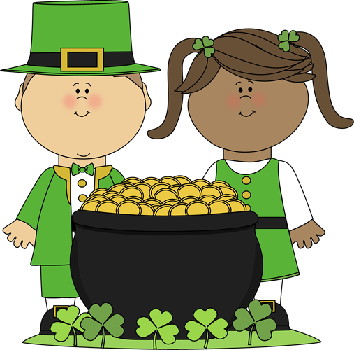 ST PATRICKS DAY CLIP ART OF KIDS boy and girl with gold pot