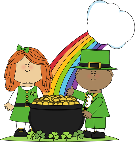 ST PATRICKS DAY CLIP ART OF KIDS rain brow and boy and girl with gold pot