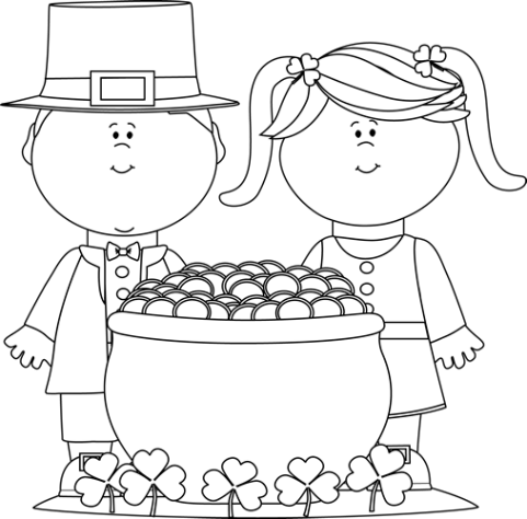 ST PATRICKS DAY CLIP ART OF KIDS sketch of boy and girl with gold pot