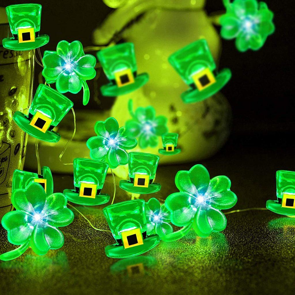 Shamrocks Leprechaun Hat Lights St. Patricks Day Decorations Led Green Lucky Clovers Fairy String Lights Battery Power Irish