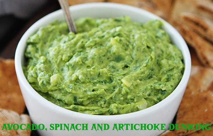St. Patrick's Day Appetizer Ideas of Avocado, spinach and artichoke dunking