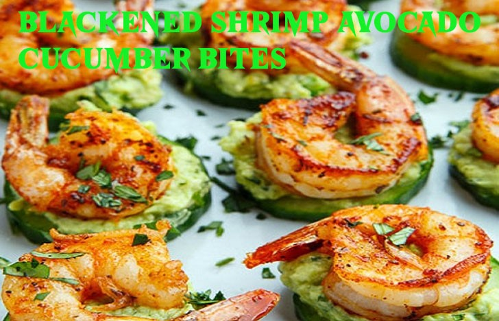 St. Patrick's Day Appetizer Ideas of Black shrimp avocado cucumber bite
