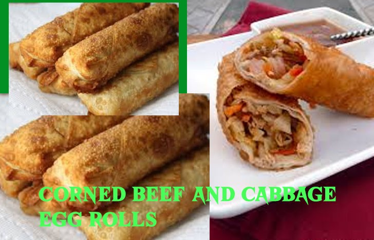 St. Patrick's Day Appetizer Ideas of Corn beef and cabbage egg roll