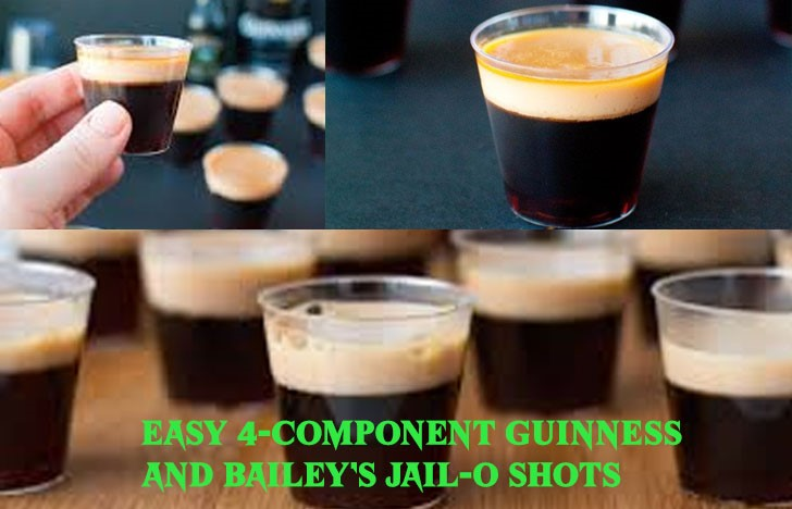 St. Patrick's Day Appetizer Ideas of Easy 4-Component Guinness and Bailey's Jail-O Shots