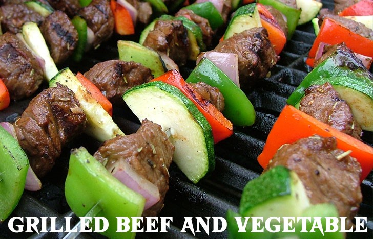 St. Patrick's Day Appetizer Ideas of Grilled beef and vegetable skewers