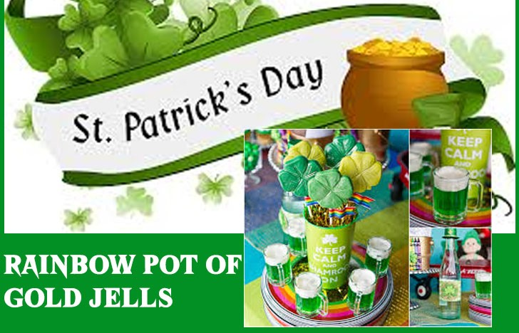 St. Patrick's Day Appetizer Ideas of Rainbow Pot of Gold Jells