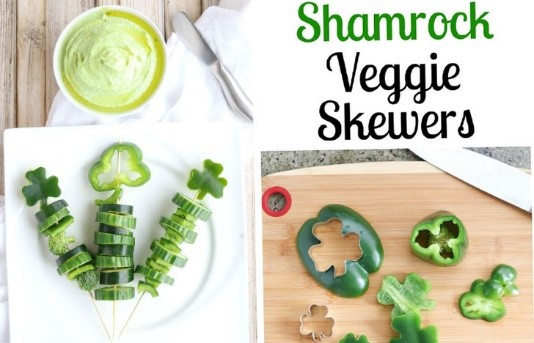 St. Patrick's Day Appetizer Ideas of Shamrock Veggie skewers