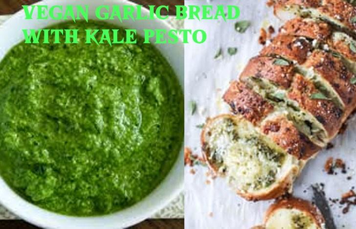 St. Patrick's Day Appetizer Ideas of Vegan garlic bread with kale pesto