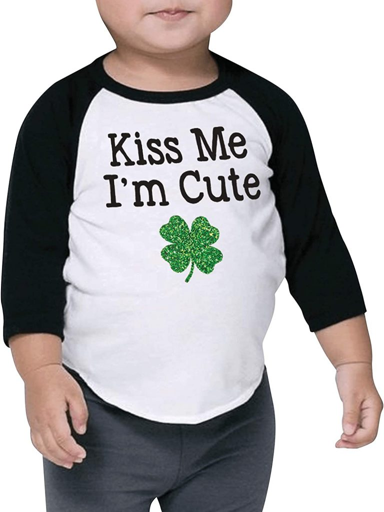 St. Patrick's Day Outfits for Girls and Boys, Kiss Me I'm Cute, Kids and Toddler Shirt