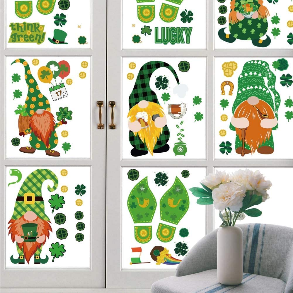 St. Patrick's Day Window Clings Spring Shamrock Decals Lucky Day Decorations