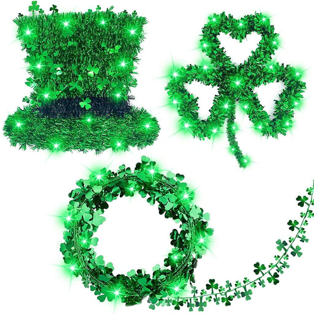 St.Patrick's Day Decorations Prelit 3Pack Tinsel Shamrocks St.Patrick's Day