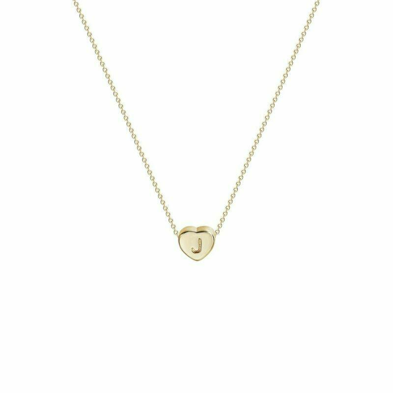 Tiny Gold Initial Heart Necklace women's gift ideas for mom 2021