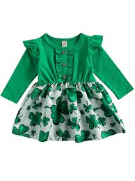 Toddler Baby Girl St. Patrick's Day Dress Ruffle Long Sleeve Top Lucky Clover Print Skirt Outfits