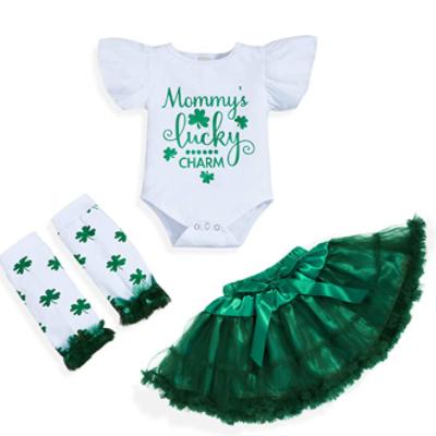 Toddler Baby Girls St. Patrick's Day Outfits Letter Print Long Sleeve Romper+Stripe Shamrock Print Suspender Skirt+Headband