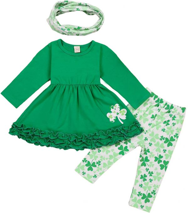 Toddler Baby Girls St. Patricks Day Outfits Ruffle Long Sleeve Top Dress 2021