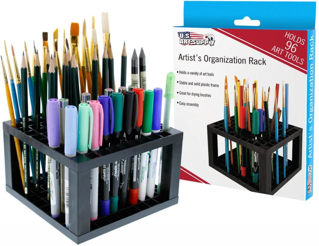 U.S. Art Supply 96 Hole Plastic Pencil & Brush Holder - Desk Stand Organizer top 30 women's gift ideas for mom 2021