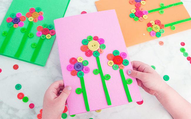 Button Craft on mother day preschooler activities