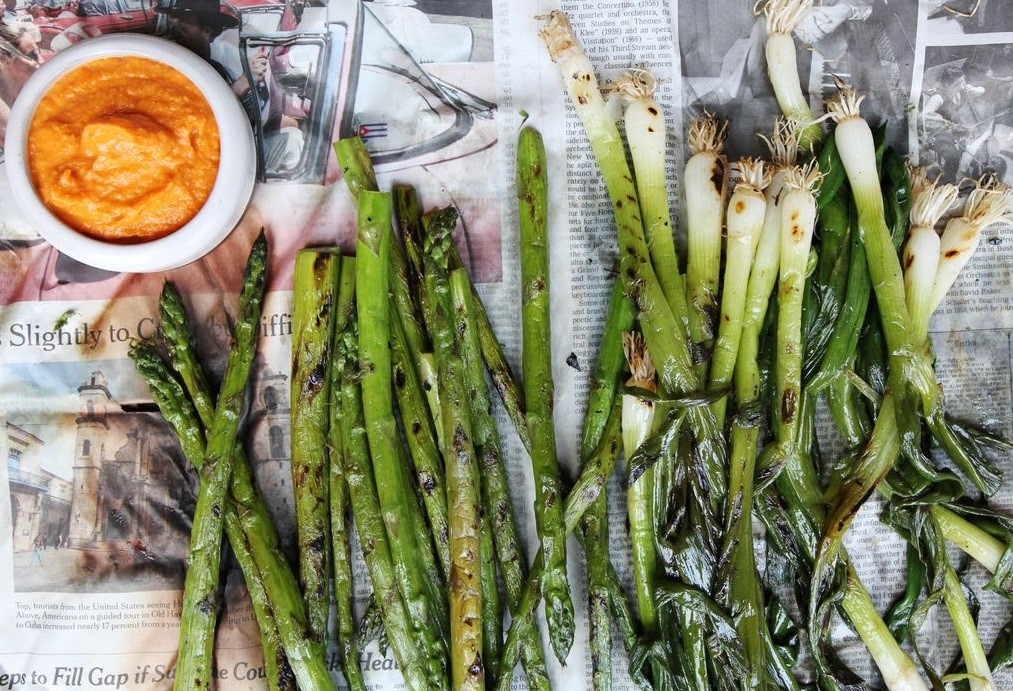 Calcots and Roasted Asparagus and Sauce Romesco Delicious Spring Equinox Food Ideas 2021