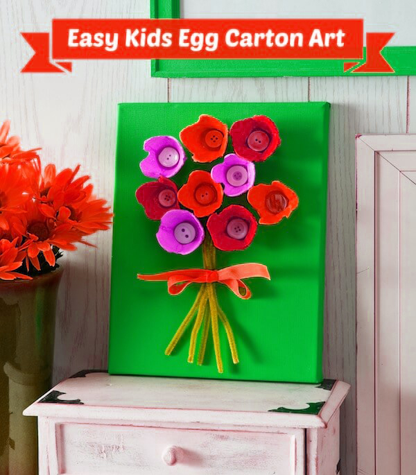 Easy Kids Craft Mothers Day Egg Carton Flowers