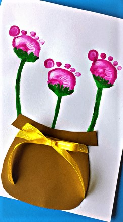 Flower Pot Footprint Craft For Kids