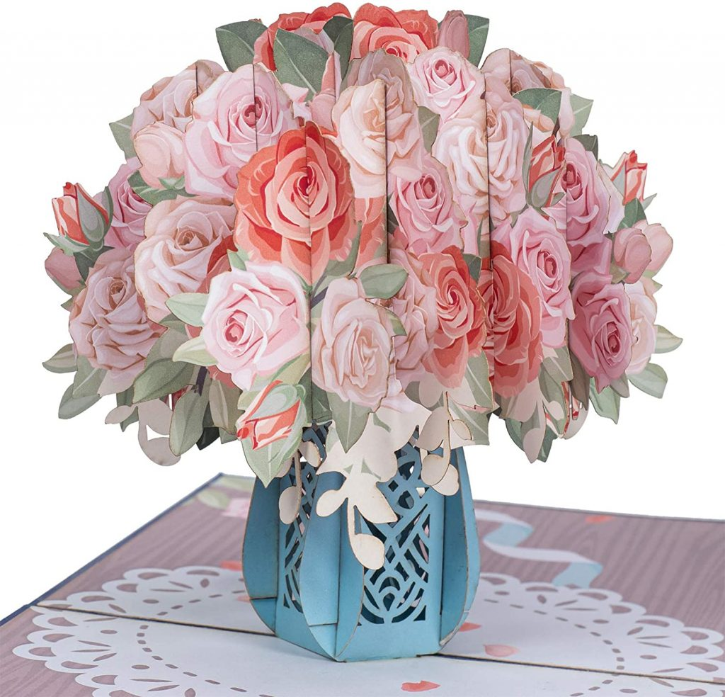 Mother Day cards Paper Love Pink Roses Pop Up Card