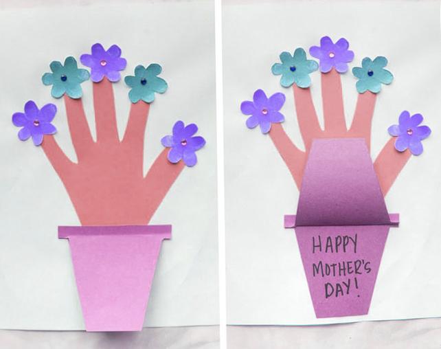 Mothers Day Handprint Fingerprint Flower