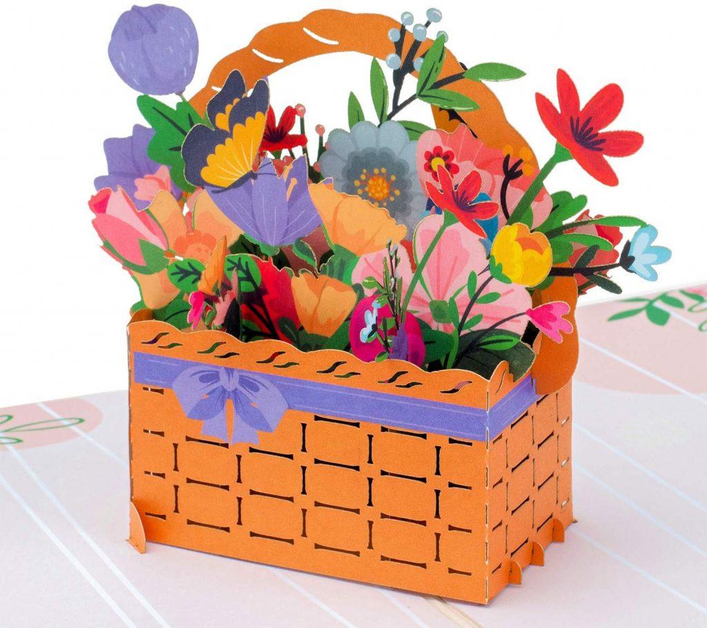 Paper Love Flower Basket Pop Up Card for mothers day 2021