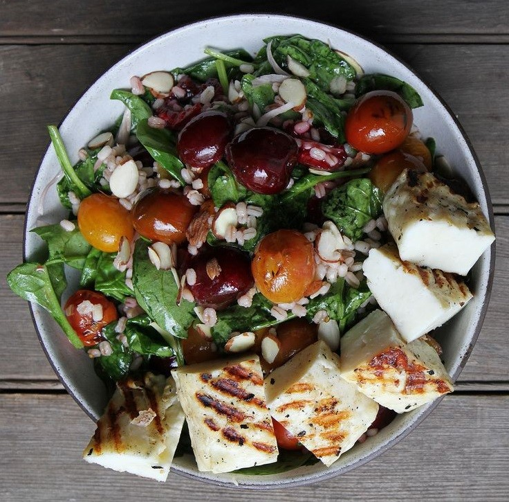 Roasted Halloumi with Cherry Salad Delicious Spring Equinox Food Ideas 2021