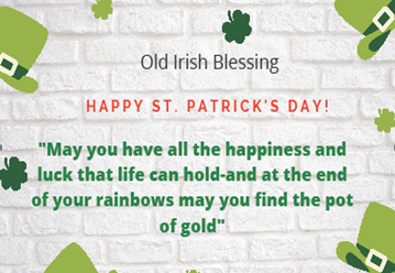 St Patrick's Day Phrases by Old Irish Blessing