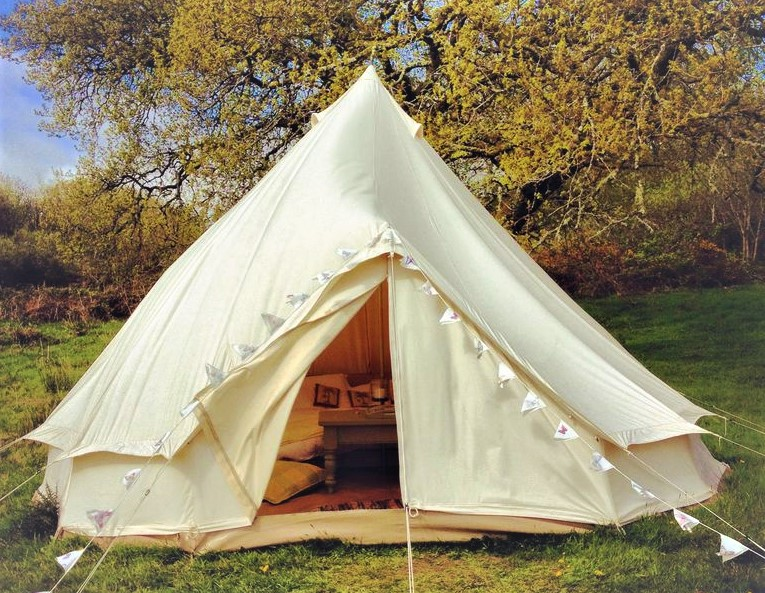 bell tent with bunting glamping with mom