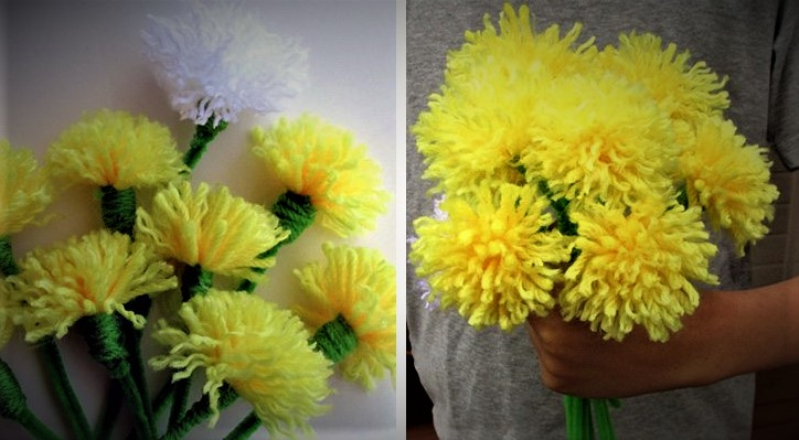 diy dandelion- bouquet mother's day activities for toddlers